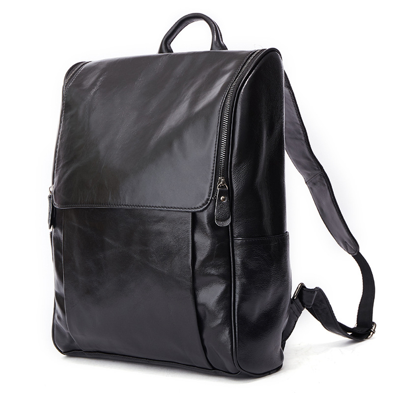 New style leather men's bag Korean fashion casual men's backpack First layer leather black compute