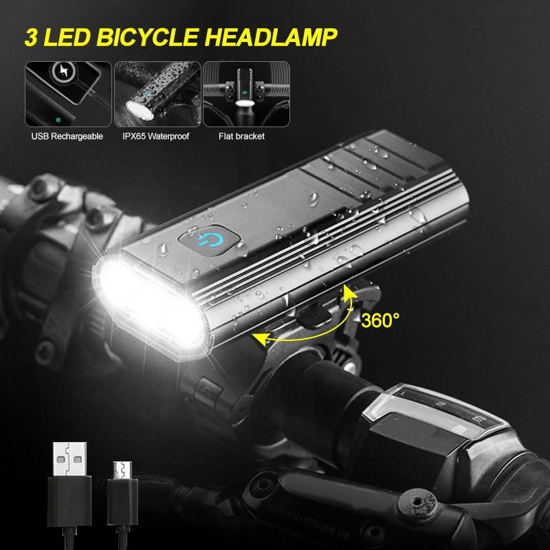 Đèn xe đạp đèn pha 3LED công suất cao với hai giá đỡ .