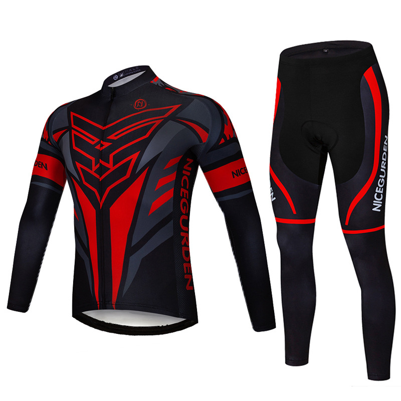 2019 cycling wear men's fleece long-sleeved suit autumn and winter quick-drying road mountain bike