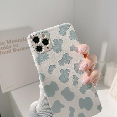 TAXIA bao da điện thoại In phong cách Hàn Quốc họa tiết bò xanh nhẹ nhàng 11pro max Apple ốp lưng đi