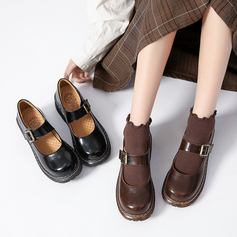 Foot Power 2021 literary retro women's shoes thick-soled Mori female Japanese Mary Jane college sty