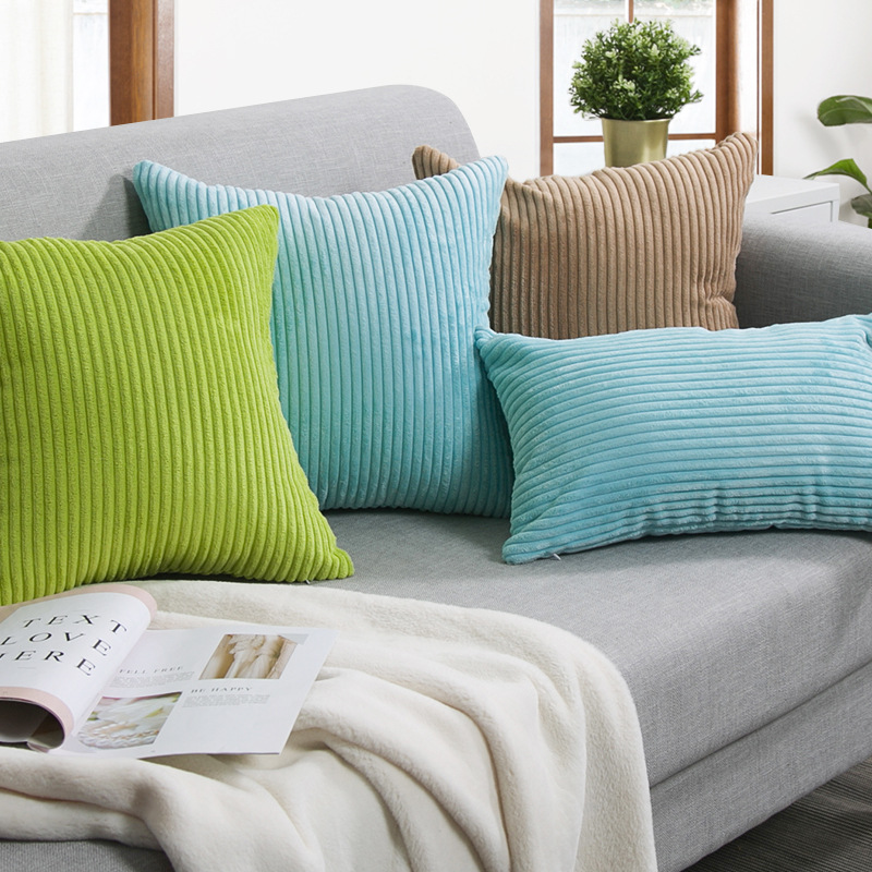 Nordic Striped Throw Pillow Pillow Sofa Solid Color Cushion Corduroy Pillow Lumbar Bedside
