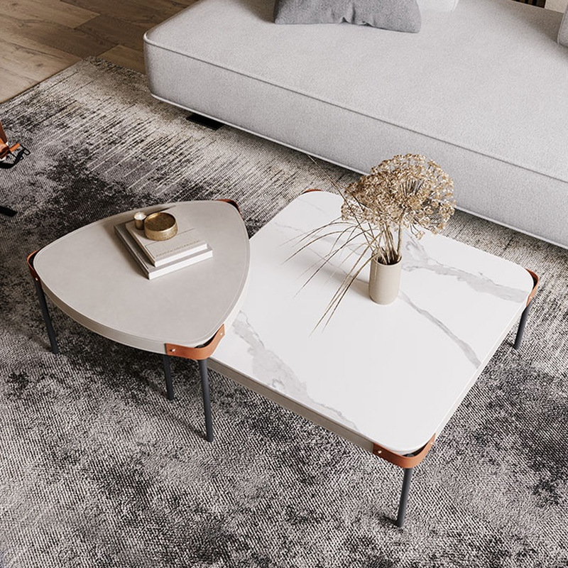 Nordic modern coffee table small apartment square rock board creative net red style ins Italian tea