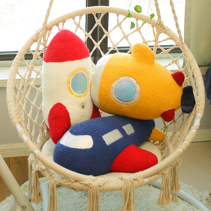 Space series creative rocket pillow cute plush toy girl birthday gift doll super soft rocket doll