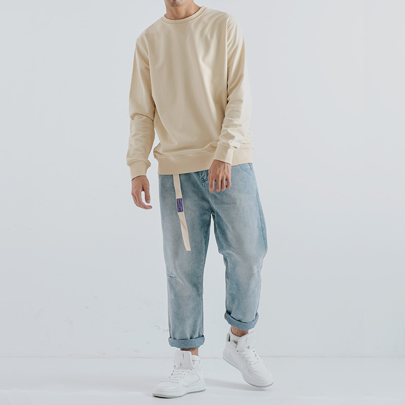 ETQFIRE 11 colors 320g beige American retro khaki round neck terry sweater men