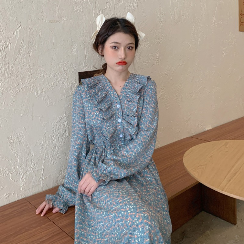 Spring and summer fast fashion women's clothing~2021 new Korean style temperament V-neck floral mid