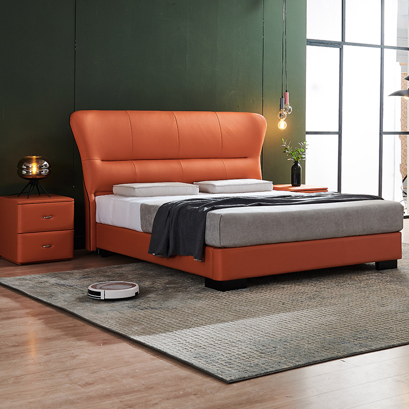 High quality light luxury solid wood bed small apartment high box storage bed American minimalist fu