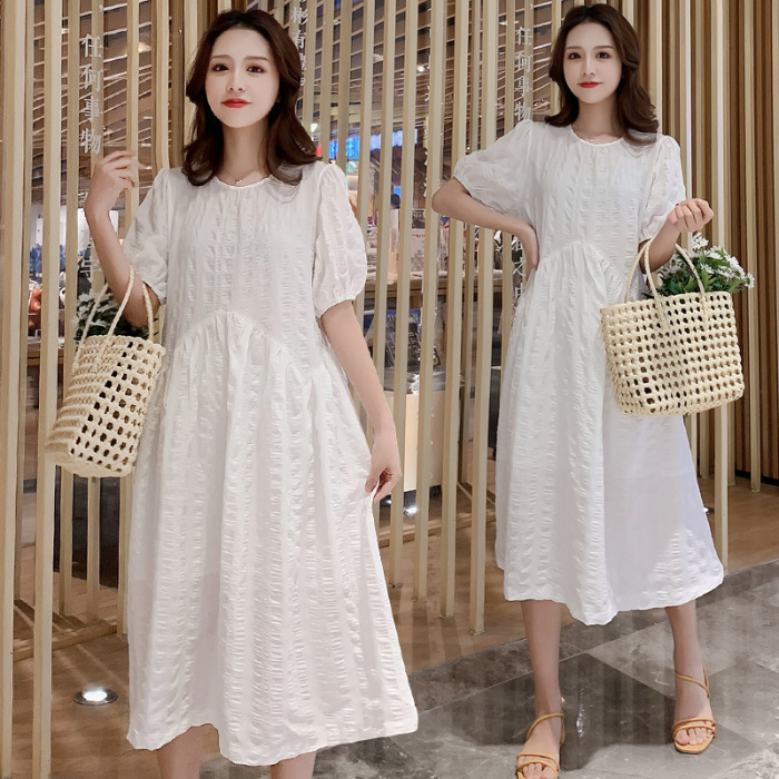 Maternity wear 2021 summer new cotton and linen dress for pregnant women, puff sleeves, loose large