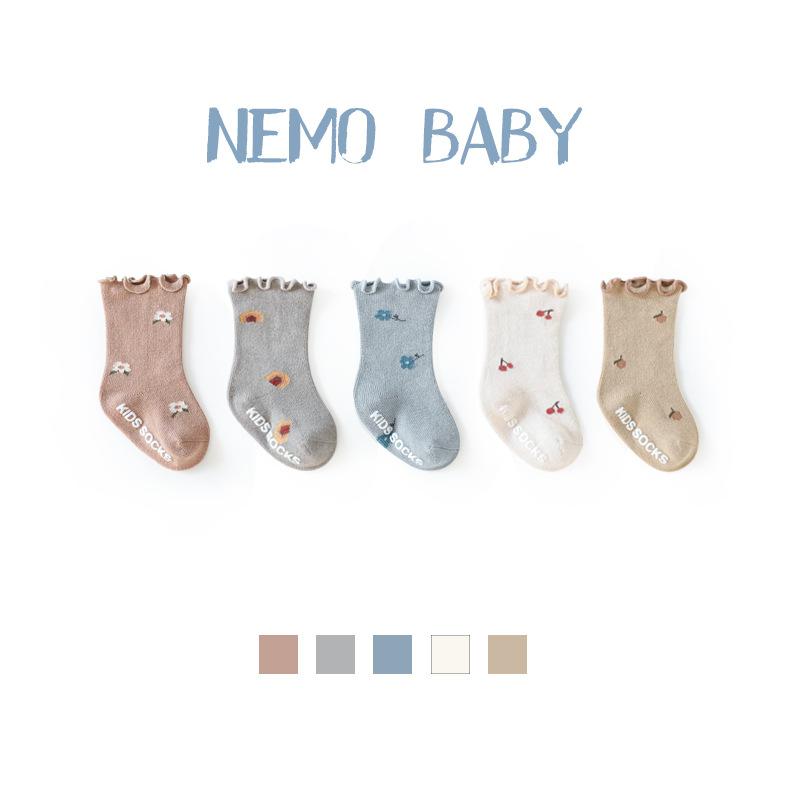 NEMOBABY 21 baby socks spring and autumn wood ear baby socks boneless glue non-slip newborn socks 0-
