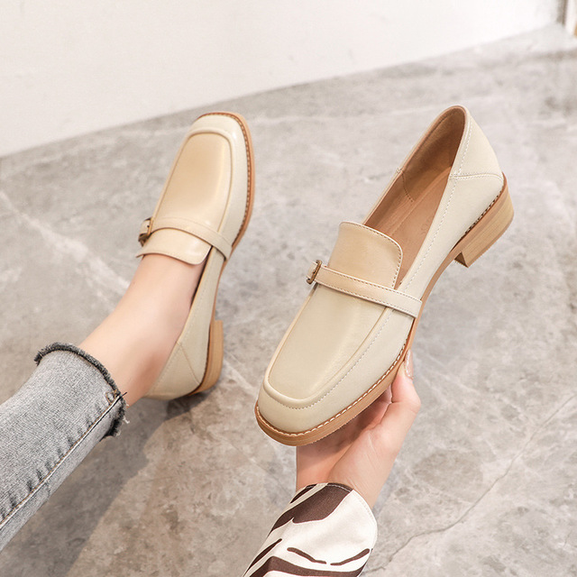 2021 spring new women's small leather shoes, British retro thick-heeled loafers, square-toed wooden