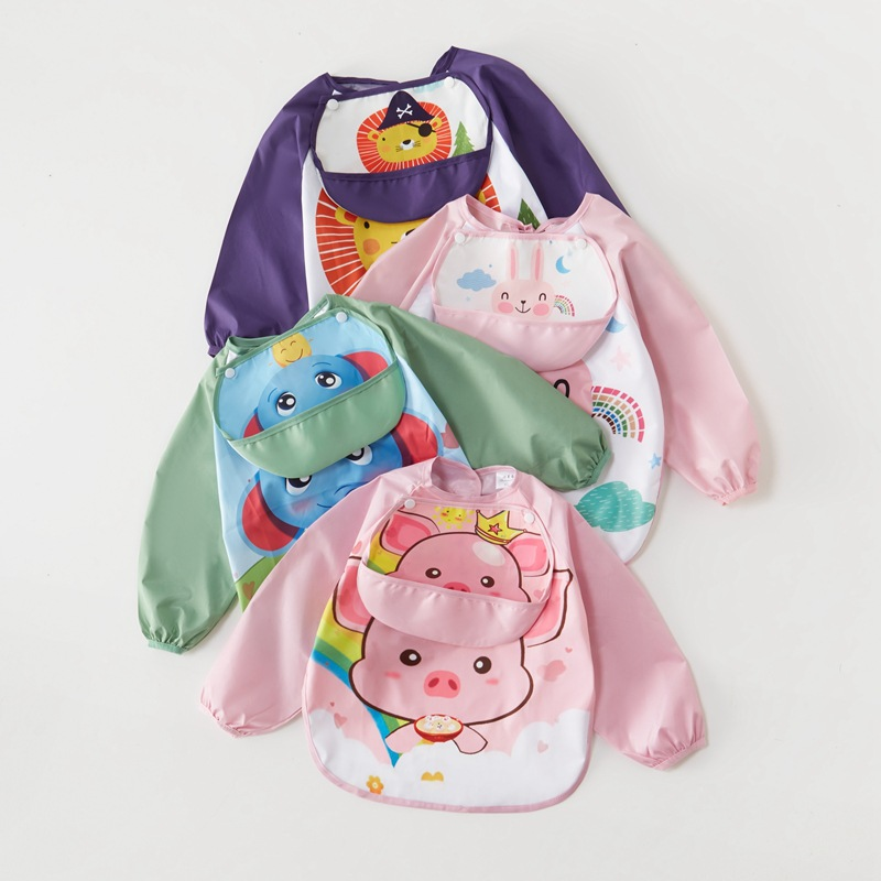 SHUNMEILE Baby eating overalls, bibs, waterproof baby anti-wearing clothes, spring and summer long-s