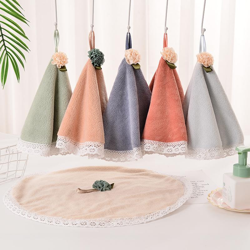 Hand towel absorbent hanging soft small towel cute children's hand towel coral fleece face towel