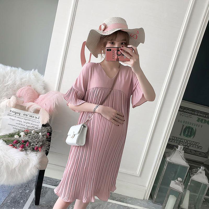 Maternity dress summer new style maternity dress summer fashion plus size maternity dress Korean dre