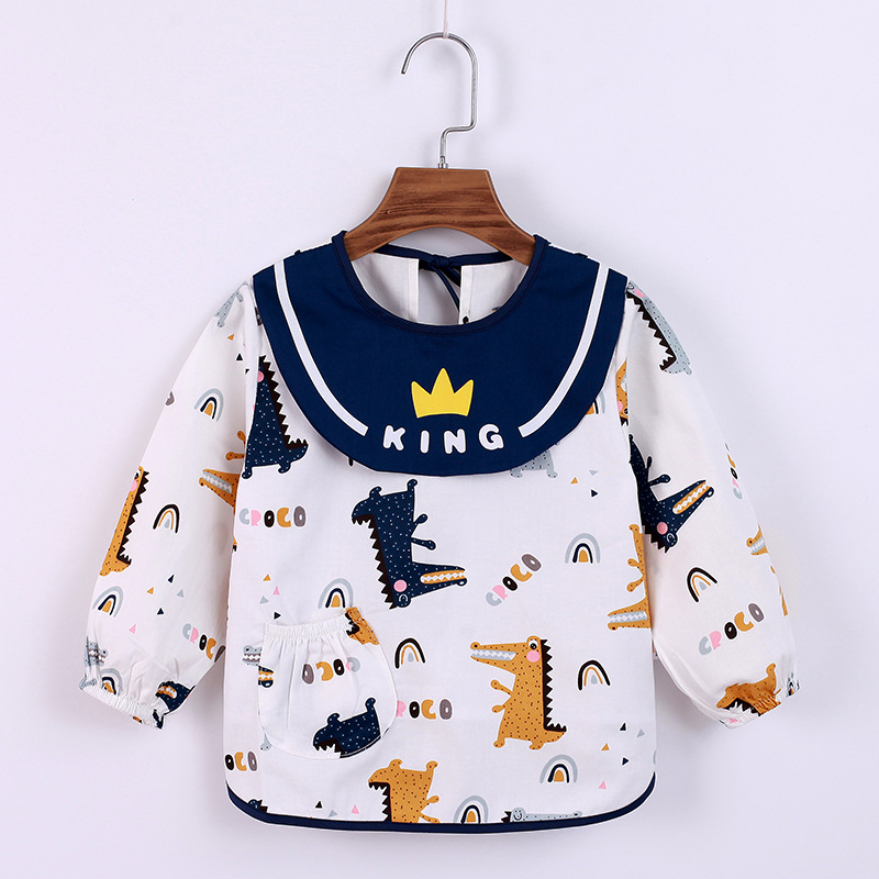 Children's gown autumn and winter waterproof cotton baby eating gown bib rice pocket waterproof and