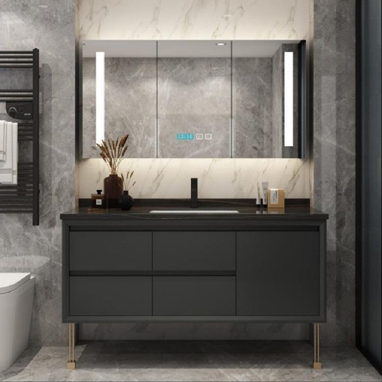 Bộ tủ phòng tắm thông minh đơn giản kết hợp sàn gỗ chắc chắn .