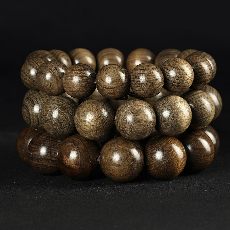 Gloomy Wooden Bracelet Sichuan Ebony Golden Silk Phoebe Bracelet Green Material along the Pattern Gl