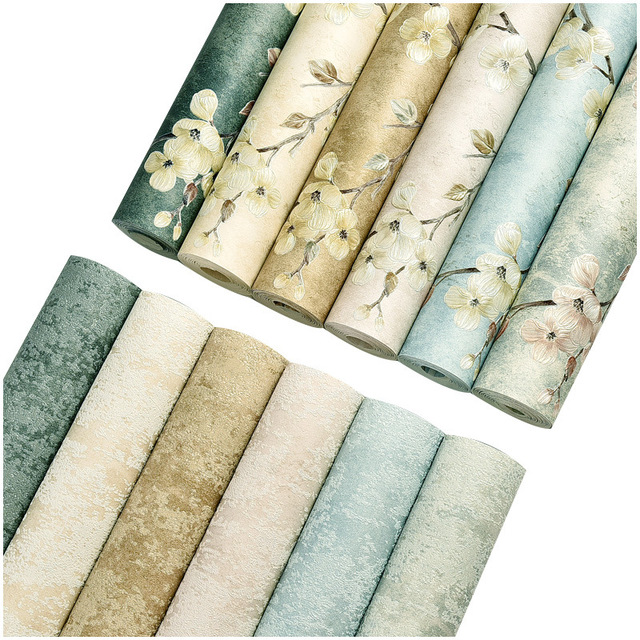 MIYOU Non-woven precision pressure wallpaper self-adhesive pastoral style bedroom living room TV bac