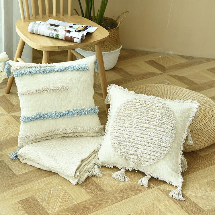 Chenille Fabric Moroccan Tufted Throw Pillow Cushion Sofa Cushion ins Cushion