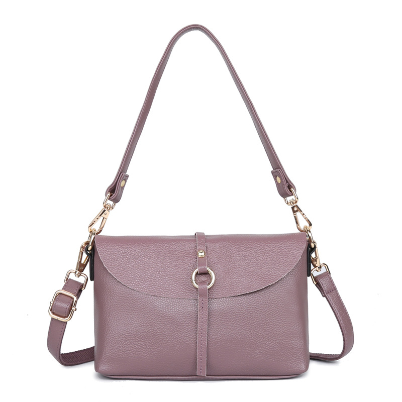 2021 new leather handbags fashion simple European and American bags wild one-shoulder portable messe