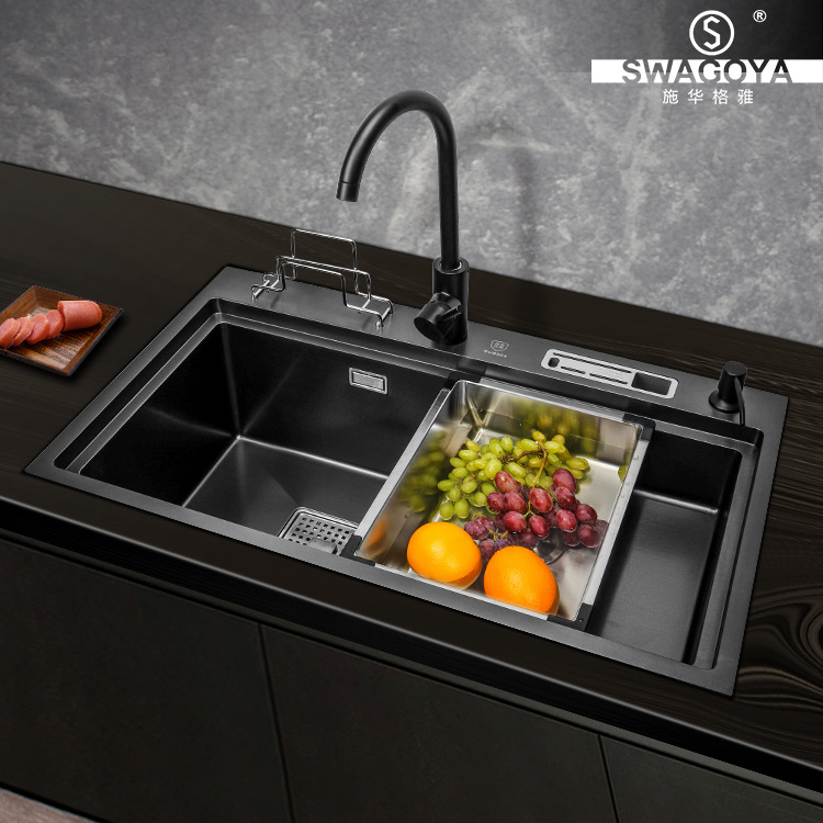 Black King Kong sink large single trough stepped kitchen sink 304 stainless steel high and low under