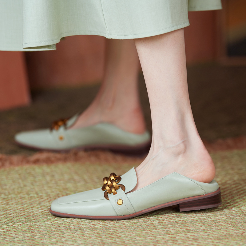 Soft full leather two-wear loafers 2021 early spring new Korean version of Dongdaemun square toe met