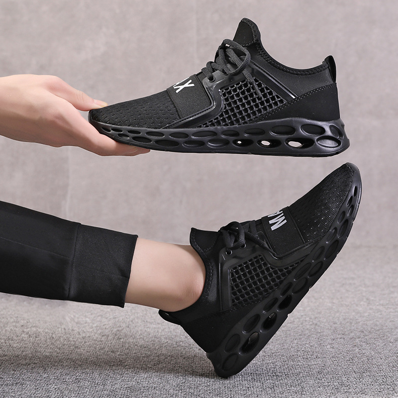 2020 autumn plus size men's shoes tide high elastic hollow bottom sports casual shoes flying woven