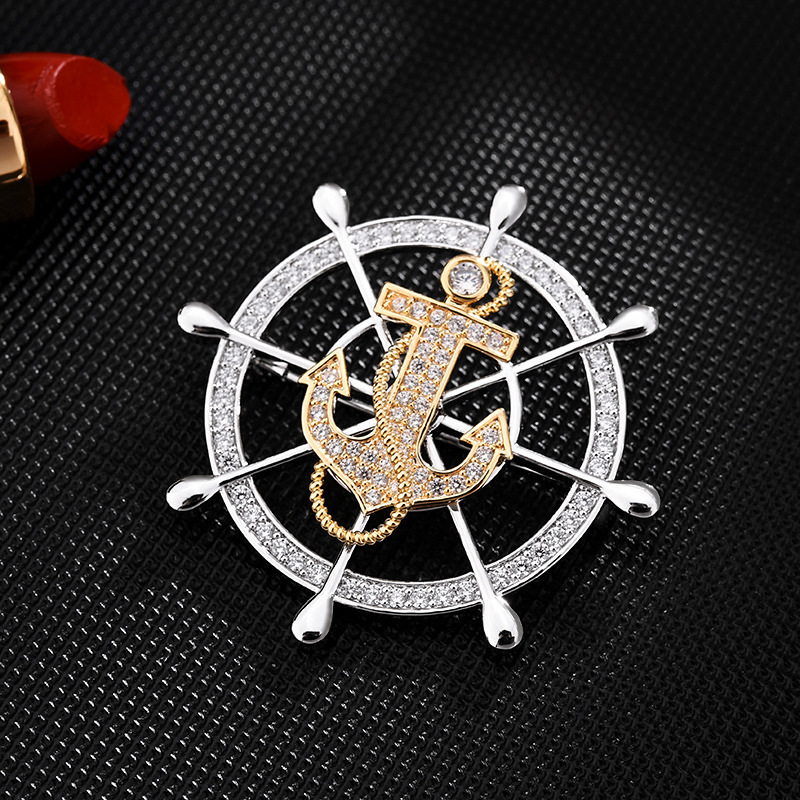Rotatable zircon badge, high-end men's brooch suit accessories, navy style fashion anchor and rudde