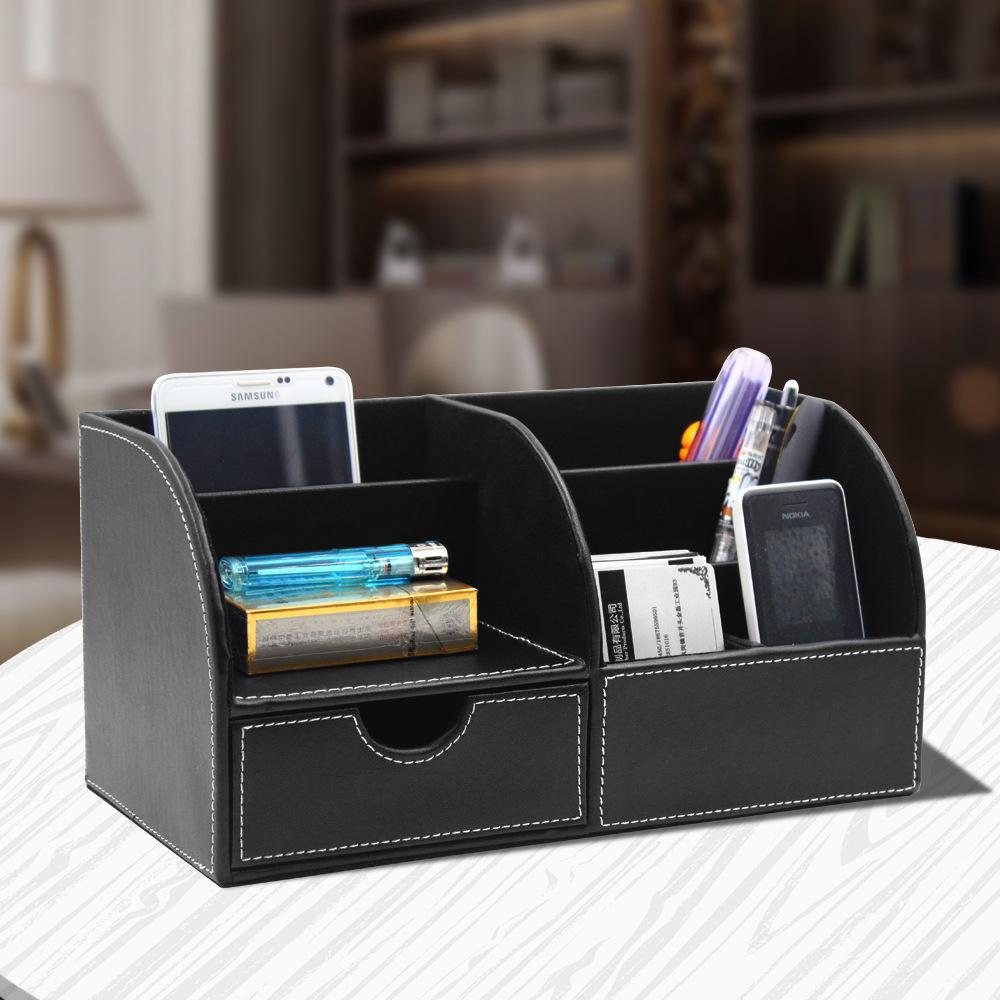 Leather desktop multifunctional storage box Pen holder debris sorting Creative storage holder Office