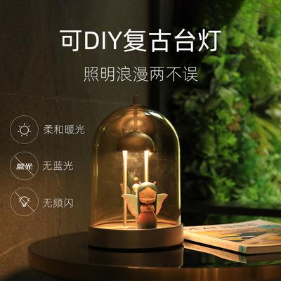 XINTELI Đèn tường Xinteri sáng tạo LED đèn bàn nhỏ phòng ngủ trẻ em cổ điển sạc nhà Tự làm trang trí