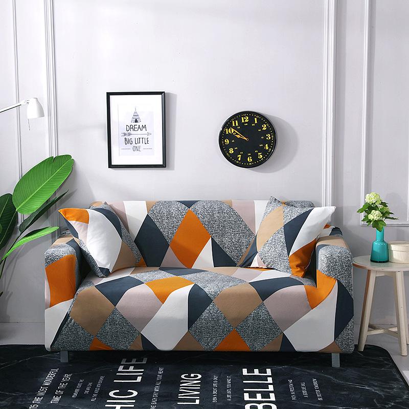 GANEICHA Printed milk silk stretch sofa cover all-inclusive non-slip sofa cover all-season universal