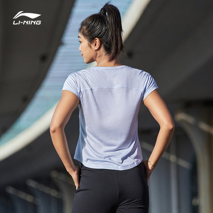 Li Ning Áo thun mau khô  áo phông ngắn tay của phụ nữ mùa hè mới tập thể dục thể thao loạt nhanh khô