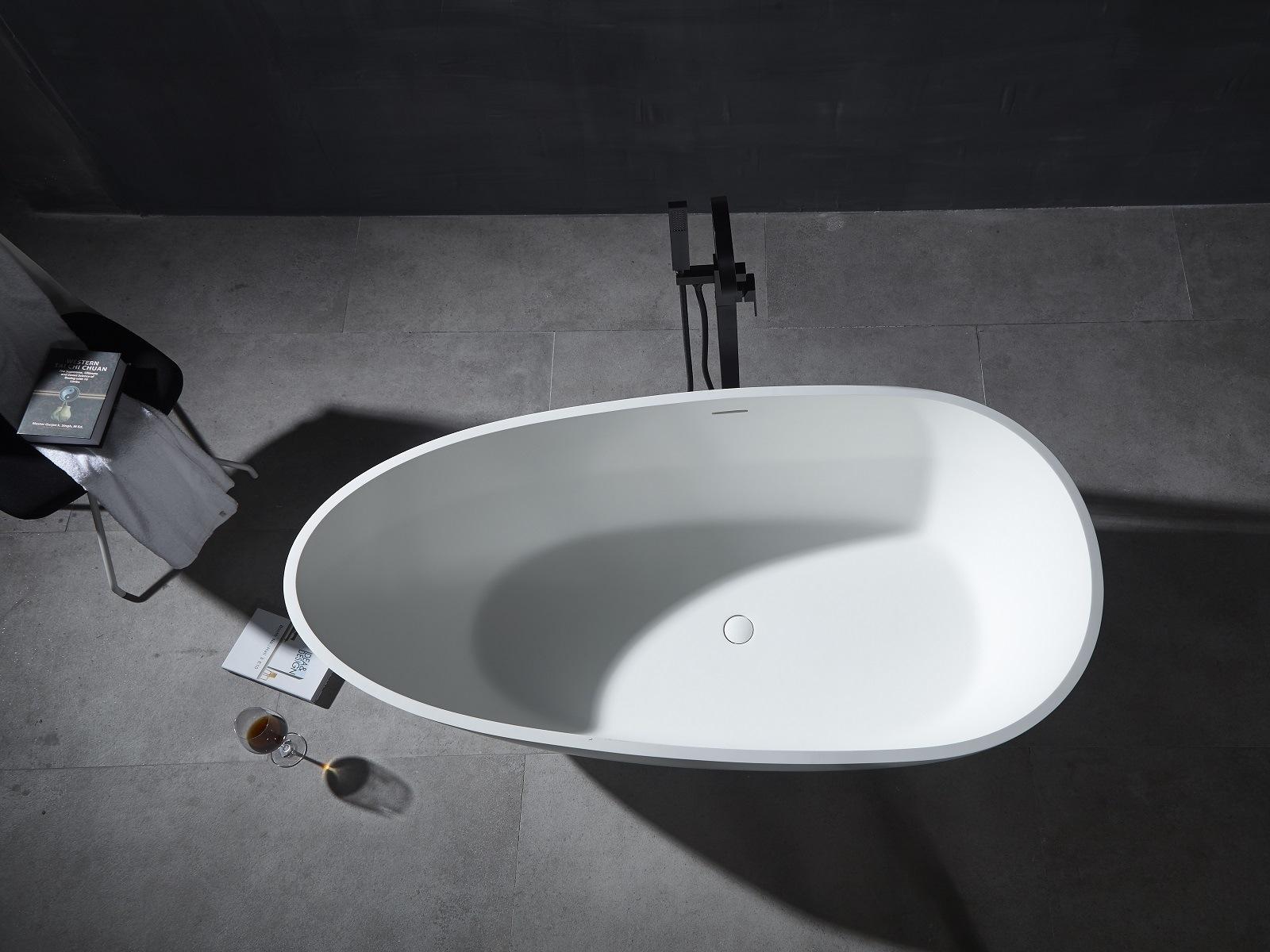 1.5-1.7m hotel bathtub Artificial stone bathtub Refined aluminum stone freestanding bathtub