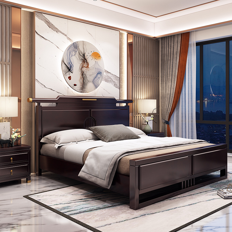 Full solid wood bed 1.8 meters new Chinese bedroom double bed 1.5 meters Chinese solid wood furnitur