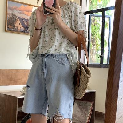 hooozen quần Jean Huang Zheng xé thô cạnh denim quần ngắn phụ nữ 2021 mùa hè phong cách Hàn Quốc cạp