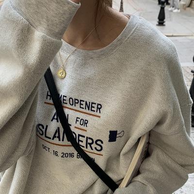 hooozen Sweater (Áo nỉ chui đầu) Áo len cổ tròn in chữ Huang Zheng nữ 2021 mùa xuân mới Hàn Quốc rộn
