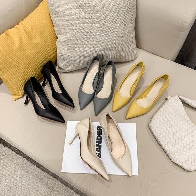 Giày da một lớp 775-1 2021 mùa thu phong cách mới giày cao gót màu nude mũi nhọn Hàn Quốc mềm mại mà