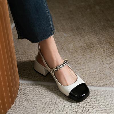 yinzizu Giày da một lớp Dép nữ 2021 mới dày gót phong cách cổ tích xăng đan Châu Âu ga Mary Jane già