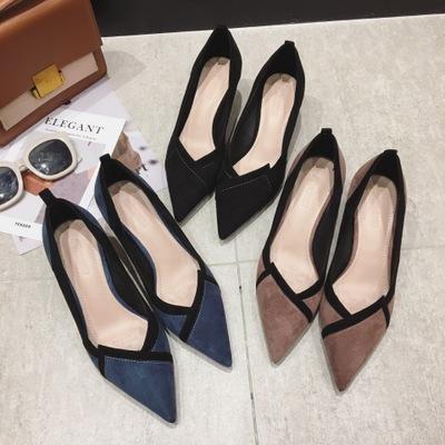 Giày da một lớp 666-20 thời trang mới 2020 mùa thu và mùa đông giày cao gót của phụ nữ gót nhọn mũi