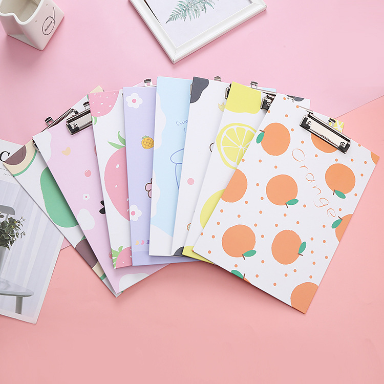 Creative fresh cartoon a4 cardboard clip office folder writing pad plywood thickened student station