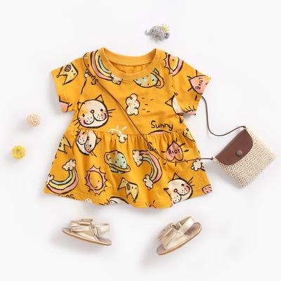 Váy thun kiểu ngắn tay dành cho trẻ em .
