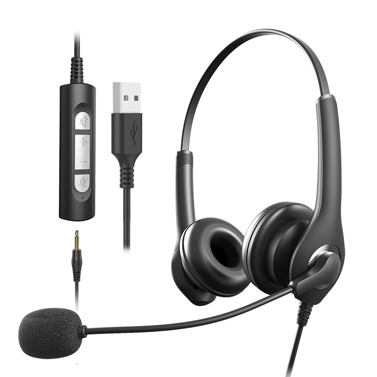 Head-mounted wired headset Wire-controlled computer headset with microphone headset Customer service