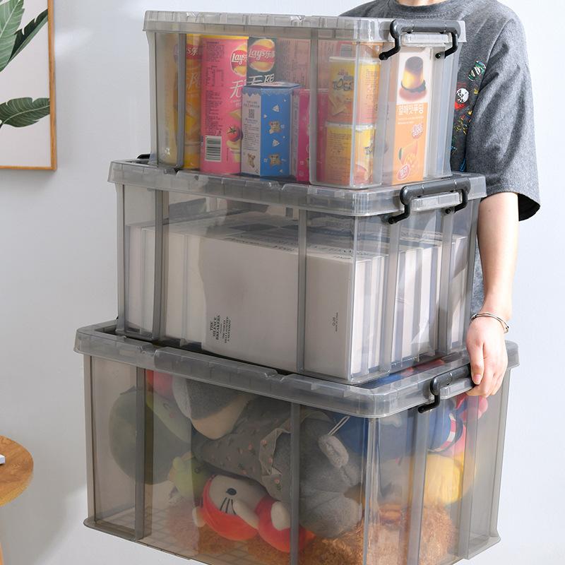 Transparent storage box plastic large size clothes toy storage box thickening storage box storage bo