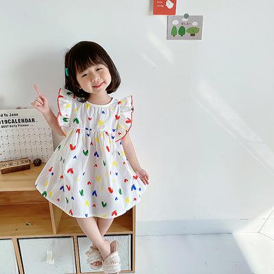 Bé gái váy bay phong cách hàn quốc mùa hè 2021 sản phẩm mới bé gái váy tây trẻ em váy công chúa váy