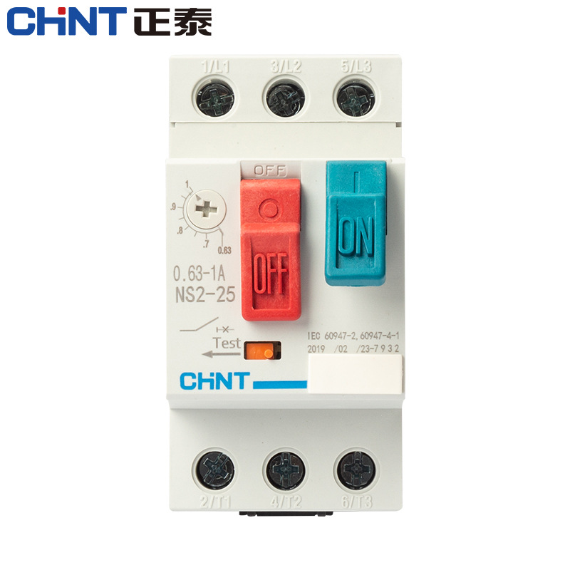 CHNT Chint AC motor starter NS2-25 button control 0.1-25A guide rail starter