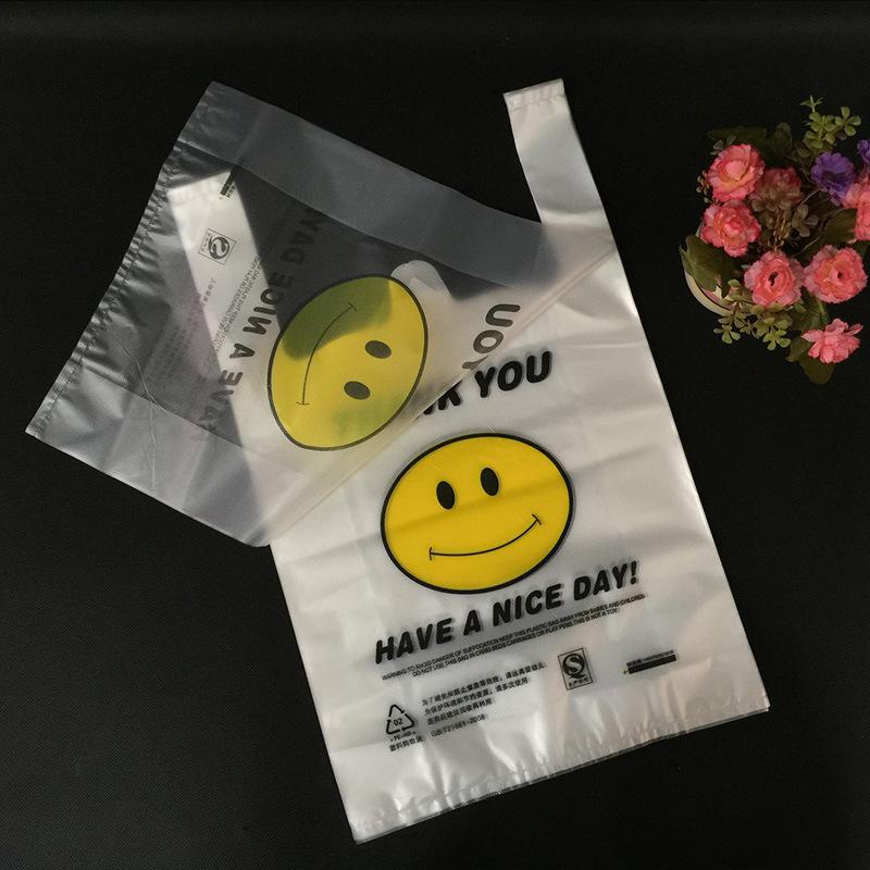 Smiley face plastic bag vest bag custom fast food takeaway packaging bag tote bag supermarket shoppi