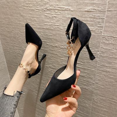 Giày da một lớp 85706 khóa giày cao gót nữ 2021 mới giày đơn gót nhọn nữ Pháp cô gái đa năng giày mũ