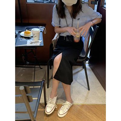 hooozen váy Huang Zheng thiết kế cảm giác lệch chân váy nữ mùa hè 2021 phiên bản Hàn Quốc của váy mi