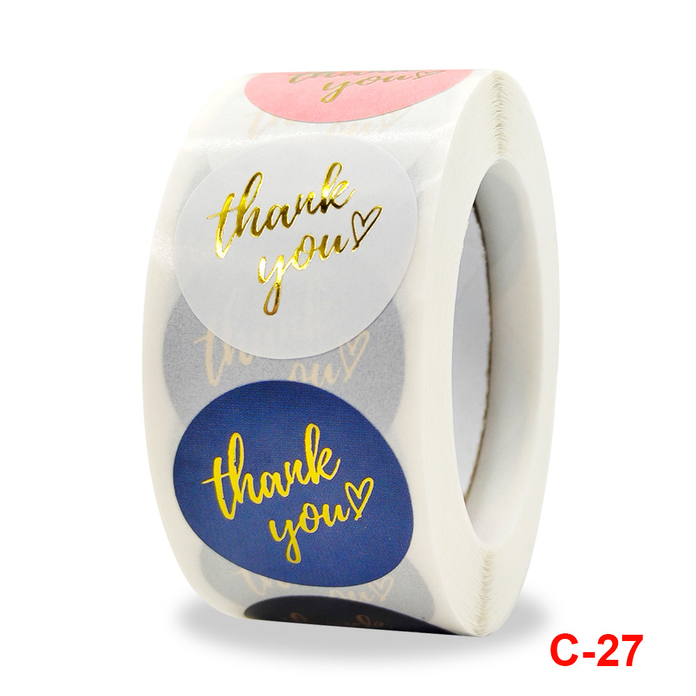 Roll color hot stamping thank you sticker gift merchandise decoration sticker