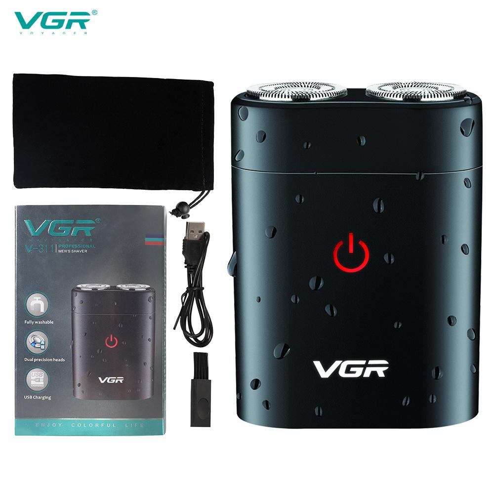 VGR Portable Mini Shaver Electric USB Shaver Men's Mobile Shaver Full Body Wash