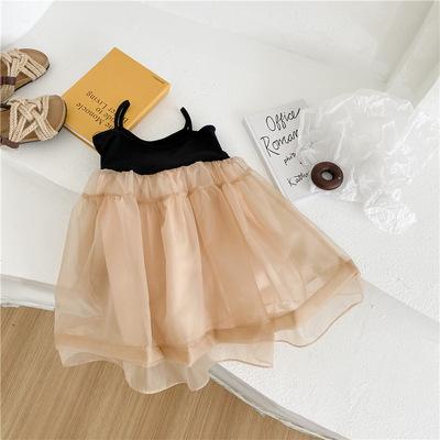 Váy bé gái, quần áo trẻ em mùa hè 2021, phong cách phương tây mới ngọt ngào và dễ thương, váy địu cổ